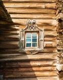 Kizhi Drewniany dom, okno, zakończenie up Obraz Royalty Free