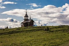 Kizhi Island, Petrozavodsk, Karelia, Russian Federation - August 20, 2018: Folk architecture and the history of the construction o. Incredible trip to Kizhi royalty free stock image