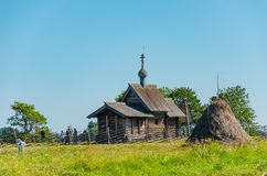 Kizhi Island, Russia - 07.19.2018: The Church of the Resurrection of Lazarus is one of the oldest wooden structures that have stock photography