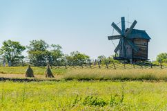 Kizhi Island, Russia - 07.19.2018 -: Old wooden mill. Rural landscape royalty free stock photos