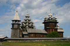 Kizhi Pogost. The museum of wooden architecture is located on the Kizhi island on Lake Onega in the Republic of Karelia, Russia. The Kizhi Pogost is the area Royalty Free Stock Photo