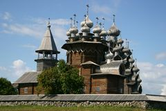 Kizhi Pogost. The museum of wooden architecture is located on the Kizhi island on Lake Onega in the Republic of Karelia, Russia. The Kizhi Pogost is the area Stock Photography