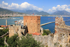 Kizil Kule. (Red Tower), inTurkish city of Alanya Royalty Free Stock Images