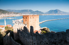 Kizil Kule, Red Tower in Alanya, Turkey. Kizil Kule, Red Tower in Alanya, Antalya, Turkey in winter time Royalty Free Stock Images
