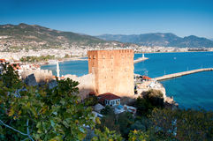 Kizil Kule, Red Tower in Alanya, Turkey. Kizil Kule, Red Tower in Alanya, Antalya, Turkey in winter time Royalty Free Stock Photography