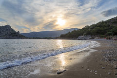 Kizilcabuk beach during sunset in Datca Royalty Free Stock Images