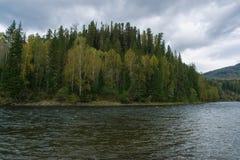 Kizir river upstream. Taiga scenic view. Eastern Sayan range, Krasnoyarsk region, Siberia, Russia. Horizontal shot Stock Photo