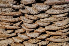 Kizyak - dried or processed manure - is used as fuel. Biofuel from kizyaka for heating houses in the mountains. Natural fuel. Lies on the street stock images