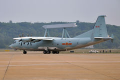 KJ-200. The AEW aircraft (a/c type: KJ-200) of China Air force, taxiing to the runway for demonstration flight on airshow Stock Photos