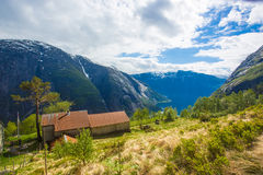 Kjeasen farm with view on Eidfjord Stock Image
