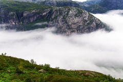 Kjerag low clouds Royalty Free Stock Photos
