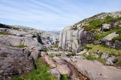 Kjerag mountain in Norway Stock Image