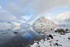 Kjerkfjorden Fjord and Olstinden Mountain Royalty Free Stock Images