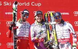 Kjetil Jansrud , Dominik Paris et Matthias Mayer  2015 World Cup in Meribel Stock Photo