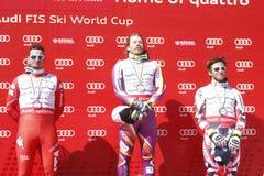 Kjetil Jansrud , Dominik Paris et Matthias Mayer  2015 World Cup in Meribel Royalty Free Stock Photos