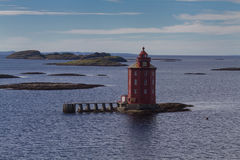 Kjeungskjaer lighthouse at the Trondheimfjord Royalty Free Stock Photos