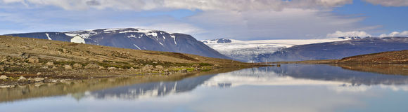 Kjolur. Glacier panorama & lake reflection on Iceland's Kjolur highland route Stock Image
