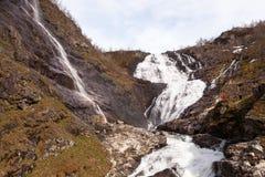 Kjosfossen vattenfall, Aurland, Norge Arkivbilder