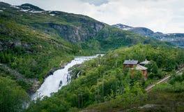 Kjosfossen waterfall valley landscape Stock Image