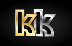 Gold silver letter joint logo icon alphabet design Royalty Free Stock Image