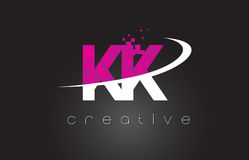 KK K K Creative Letters Design With White Pink Colors Royalty Free Stock Image