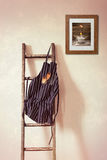 Kökförkläde som hänger på stege Arkivbild