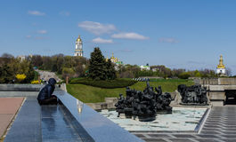 KIEV, UKRAINE - April 17, 2017: Panorama of the memorial complex of the Motherland monument. A lonely figure looking thoughtfully at the monument to the Stock Photos