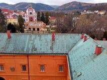 KlÃ-¡ Å ¡ terec nad OhÅ™Ã, Tschechische Republik - 12. November 2017, Ansicht der Stadt vom Turm Stockbild