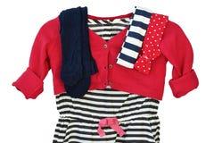 Klä med sweatern och strumpbyxor för liten flicka Royaltyfri Fotografi