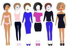 Klä upp den pappers- dockan i klänningar, flåsanden, t-skjortan, skor, exponeringsglas, underkläder och och ändringshår och kante stock illustrationer