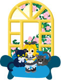 Klä upp med kattungar Arkivbilder