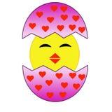 Kläcka underhållande höna från ett rosa ägg med röda hjärtor royaltyfri illustrationer