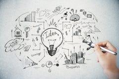 Kläckning av ideer och finansbegrepp arkivbild