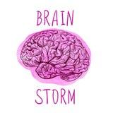 KLÄCKNING AV IDEERbokstäver och översiktsteckning av den mänskliga hjärnan på målarfärgfläck stock illustrationer