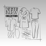 Kläd- och skodonkonturer royaltyfri illustrationer