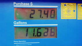 Klädd bensin Skärm visar beloppet av bränsle i gal. och pris i dollar lager videofilmer