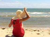 klädd röd kvinna Fotografering för Bildbyråer