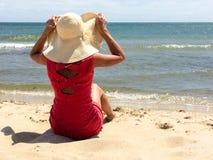 klädd röd kvinna Royaltyfria Bilder