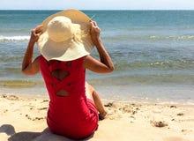 klädd röd kvinna Royaltyfri Fotografi