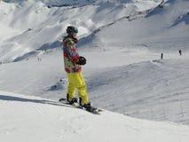 klädd snow för boarder colorfully Arkivfoto