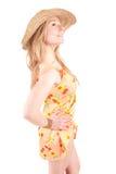 klädd sommarkvinna Arkivfoto