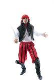 Klädd vuxen man som piratkopierar, isolerat på vit Royaltyfria Foton