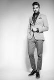 Klädde den manliga modellen för attraktivt mode elegant - tillfälligt posera mot väggen arkivbild
