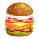 Klädde den smakliga hamburgaren grillade nötkött och nya grönsaker med sås i bullen för mellanmålet eller lunch, den klassiska ha vektor illustrationer