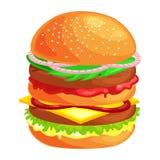 Klädde den smakliga hamburgaren grillade nötkött och nya grönsaker med sås i bullen för mellanmålet eller lunch, den klassiska ha royaltyfri illustrationer