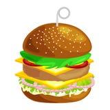 Klädde den smakliga hamburgaren grillade nötkött och nya grönsaker med sås i bullen för mellanmålet eller lunch, den klassiska ha Arkivbild