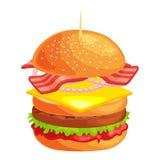 Klädde den smakliga hamburgaren grillade nötkött och nya grönsaker med sås i bullen för mellanmålet eller lunch, den klassiska ha Arkivfoto