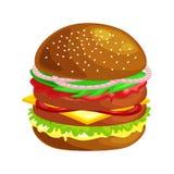 Klädde den smakliga hamburgaren grillade nötkött och nya grönsaker med sås i bullen för mellanmålet eller lunch, den klassiska ha stock illustrationer
