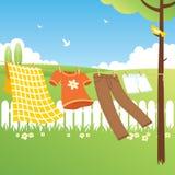 kläder arbeta i trädgården linjen Arkivbild