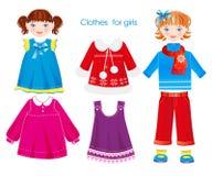 Kläder för flickor stock illustrationer